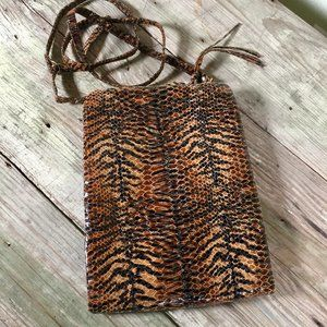 Hobo crossbody slim animal tiger print leather Lrg